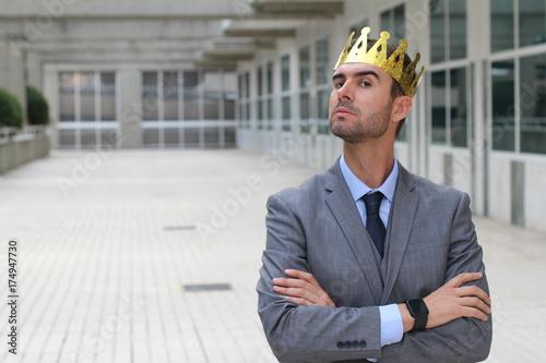 Fotografie, Obraz  Arrogant businessman with a crown in office space