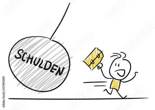 Photo Strichfiguren / Strichmännchen: Schulden, Abrissbirne. (Nr. 98)