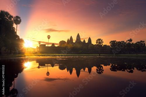 Wall Murals Temple sunrise of Angkor wat temple