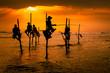 Leinwanddruck Bild - Silhouettes of the traditional fishermen