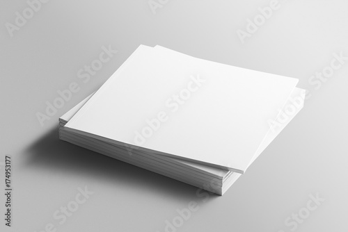 Fotografía Blank square photorealistic brochure mockup on light grey background