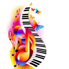 FototapetaColorful 3d music notes with piano keyboard and butterfly. Music background for poster, brochure, banner, flyer, concert, music festival