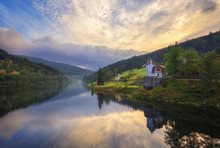 Early Morning On The River Elbe. Czech Republic.