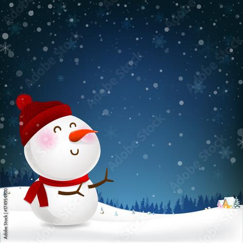 Zdjęcie XXL Bałwan kreskówki uśmiech i puste miejsce kopii przestrzeni spada śnieg w zimy nocy backgroud wektorowej ilustraci 001
