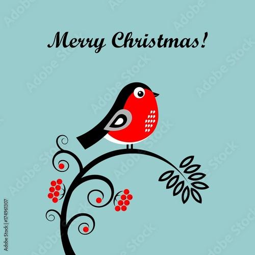 Christmas cartoon bullfinch. Vector illustration Wallpaper Mural