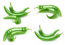 Isolated Peppers. Collection Of Hot Green Peppers Isolated On White Background With Clipping Path