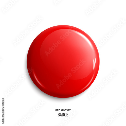 Valokuva  Vector blank red glossy badge or web button. Vector.