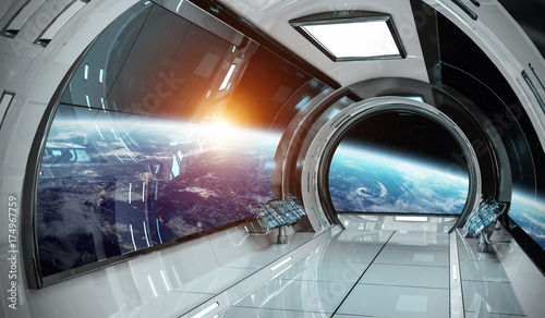 Photo sur Toile UFO Spaceship interior with view on Earth 3D rendering elements of this image furnished by NASA