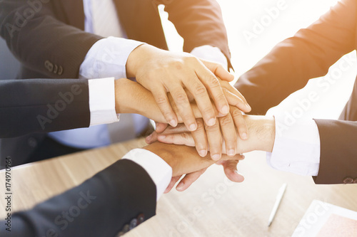 Fotografie, Obraz  Teamwork - Business partners,friendship and togetherness Collaboration Concept