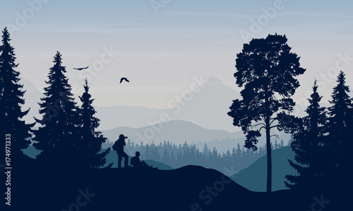 Foto op Canvas Bleke violet Vector illustration of a mountain landscape with trees and a human being photographed under a blue-gray sky with cloud
