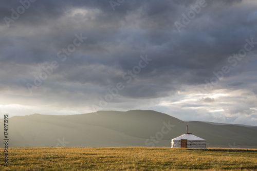 Foto op Canvas Grijs mongolian yurt, called ger, in a landscape on northern mongolia