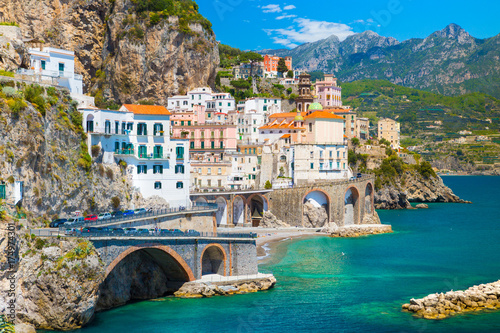 Foto op Aluminium Napels Morning view of Amalfi cityscape on coast line of mediterranean sea, Italy
