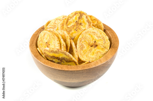 Fotografie, Obraz  Organic plantain chips isolated on a white background