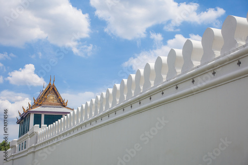 The white wall and the fortress of the royal palace with cloud and blue sky , Ba Poster