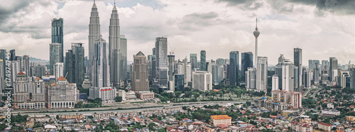 Canvas Prints Kuala Lumpur Panoramic view of Kuala Lumpur skyline with Petronas Twin Towers and other corporate buildings