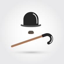 Retro Hat, Cane And Moustache