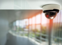 Security Camera Surveillance Installed On Ceiling