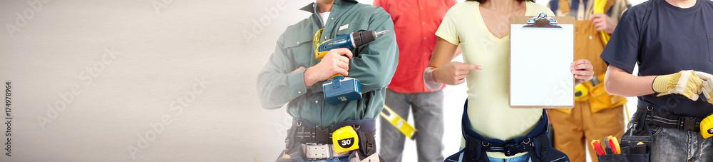 Fototapeta construction workers group