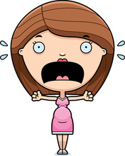 Scared Cartoon Pregnant Woman