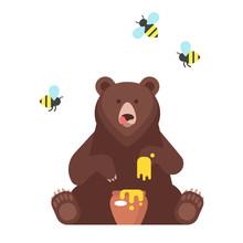 Bear Character Eating Sweet Honey.