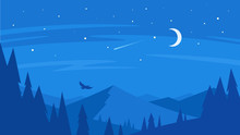 Night Forest And Mountain