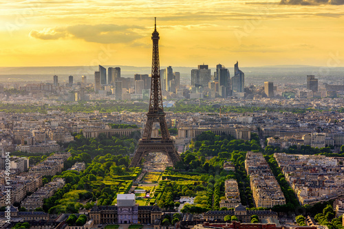 Skyline of Paris with Eiffel Tower at sunset in Paris, France