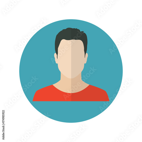 Fotografie, Tablou Male face icon in flat design