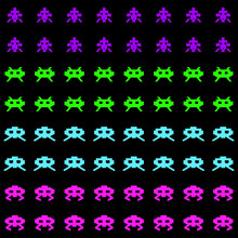 Seamless Pattern With Aliens Or Monsters. Retro Style Pixel Video Game Background. Vector Illustration.
