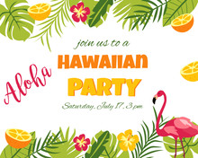 Tropical Floral Poster With Flamingo - For Invitation, Wedding, Party