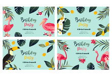 4 Tropical Hawaiian Posters With Toucan, Parrot, Pelican And Flamingo. Party Template. Invitation, Banner, Card