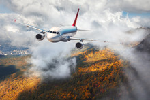 Airplane Is Flying In Clouds Over Mountains With Autumn Forest At Sunset. Landscape With Passenger Airplane, Cloudy Sky And Trees. Passenger Aircraft Is Landing. Business Travel. Commercial Plane