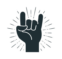 Rock Symbol, Hand Gesture. Cool, Party, Respect, Communication Icon. Silhouette Vector Illustration
