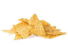A Pile Of Cheese Covered Tortilla Chips Isolated On White Background. Nachos Mexican Cuisine.