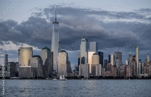 View of evening Manhattan in twilight Poster