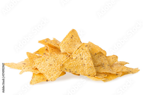 Fotomural A pile of cheese covered tortilla chips isolated on white background