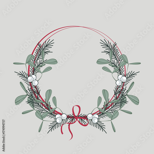 Fotografie, Obraz  Christmas wreath with branches and mistletoe