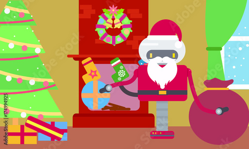 Santa Claus Robot in house with gifts near the Christmas tree at ...