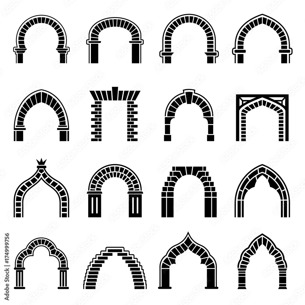 Fototapety, obrazy: Arch types icons set, simple style