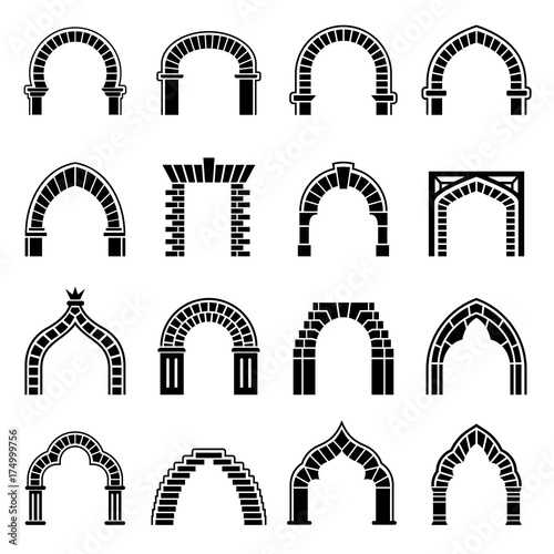 Arch types icons set, simple style Canvas Print