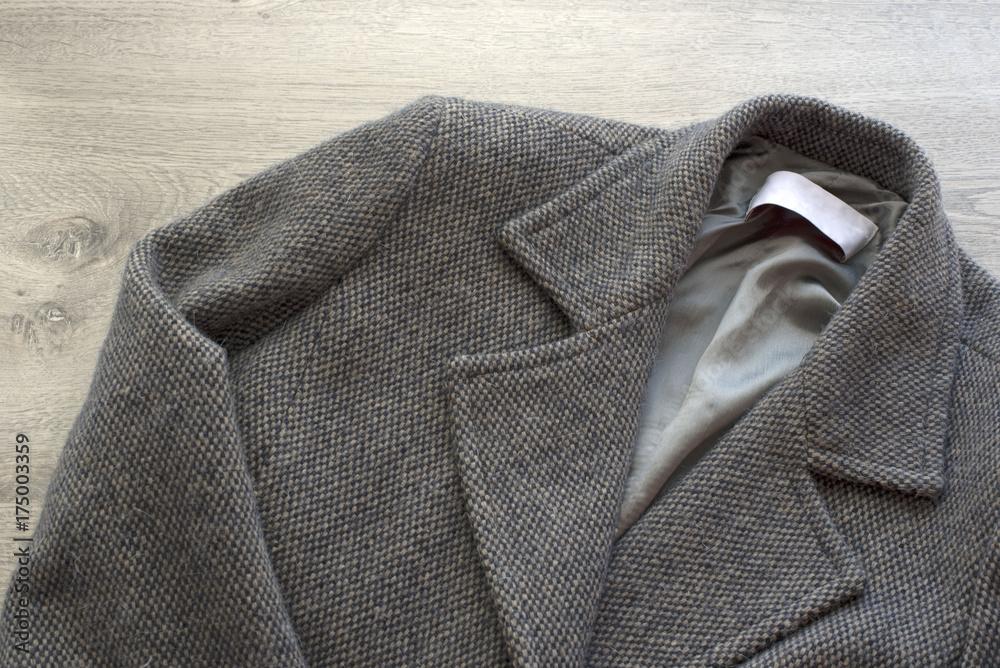 Fototapeta Women's wool coat gray color.