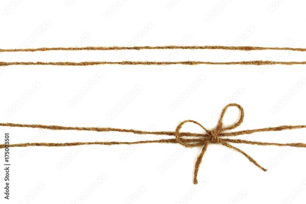Fototapety, obrazy: Burlap rope bow isolated on white background