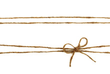 Burlap Rope Bow Isolated On Wh...