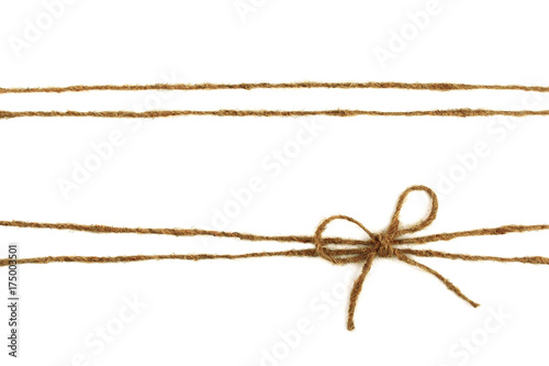 Fotografía  Burlap rope bow isolated on white background