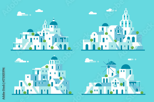Flat design Santorini village set