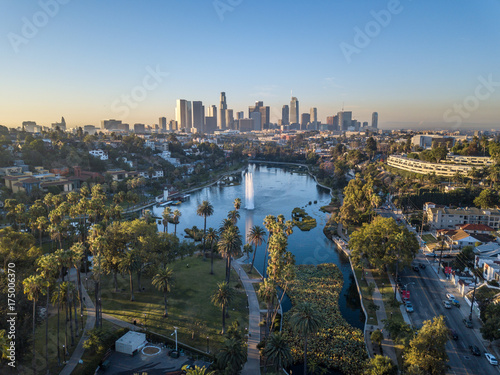 Foto auf Leinwand Los Angeles Drone view on Echo Park, Los Angeles