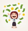 Happy smiling rich businessman woman office worker character sitting under money rain. Vector flat cartoon illustration