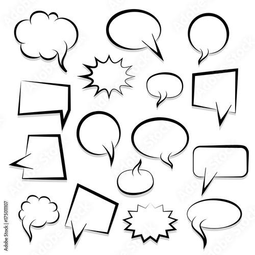 Big Set Picture Blank Template Pop Art Style Comic Text Speech Bubble Halftone Dot Background