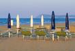 Rimini - White and blue umbrellas on the beach