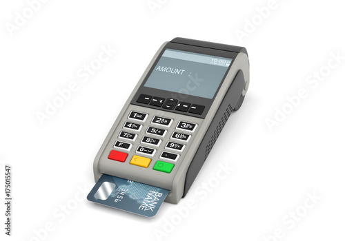 3d rendering of a card payment terminal with a sticking plastic card inside on white background.