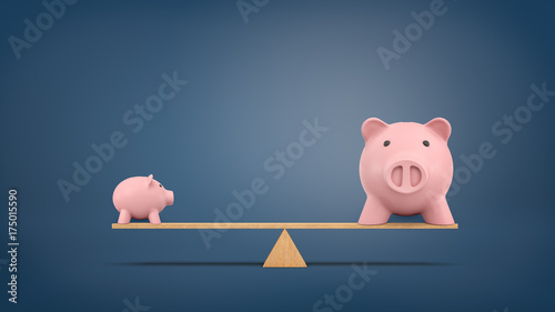 Fotografía 3d rendering of a small piggy bank in side view stands on a wooden seesaw balanced with a large piggy bank in front view